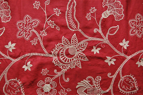 Colefax & Fowler Embroidered Large White Flowers on Red Background