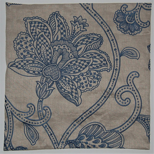 Colefax & Fowler Embroidered Linen Blue Leaves