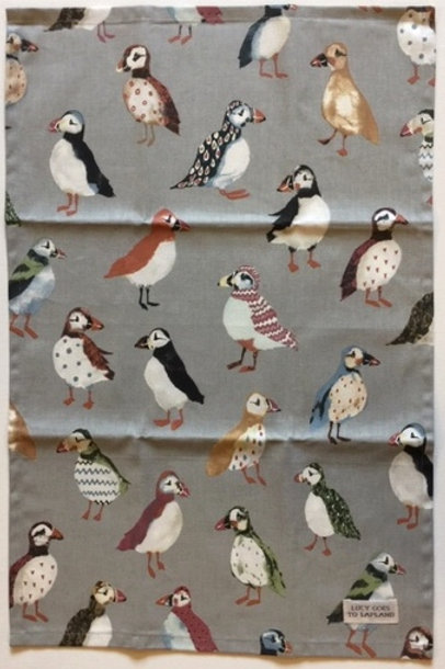 Puffins tea towel grey background