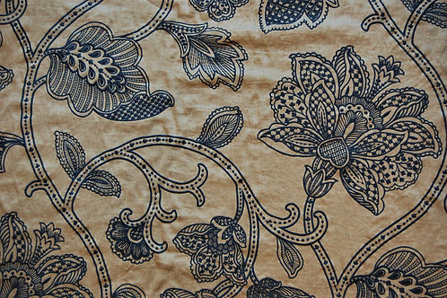 Colefax & Flowler Embroidered Linen Blue Leaves