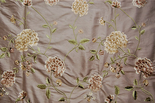 Colefax & Fowler Embroidered Silk Chinoiserie Peony Purple Grey
