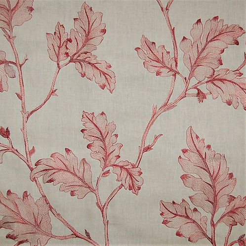 Colefax & Fowler Embroidered Lamerton Leaf Red