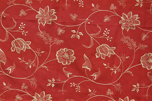 Colefax & Fowler Embroidered Flowers on Red