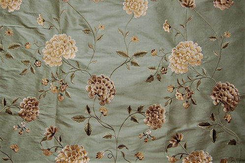 Colefax & Fowler Embroidered Silk Chinoiserie Peony Green
