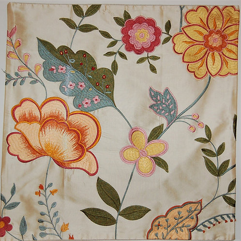 Silk Embroidered Contemporary Floral with Pink, Organge and Gold