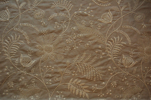 Colefax & Flowler Embroidered design on grey linen