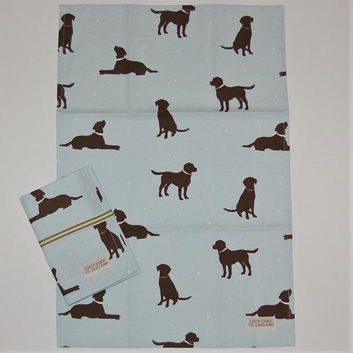 Labrador tea towel blue background