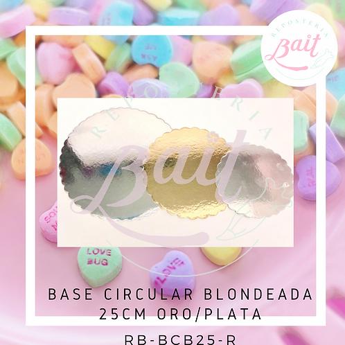 Base circular blondeada 25 cm oro / plata