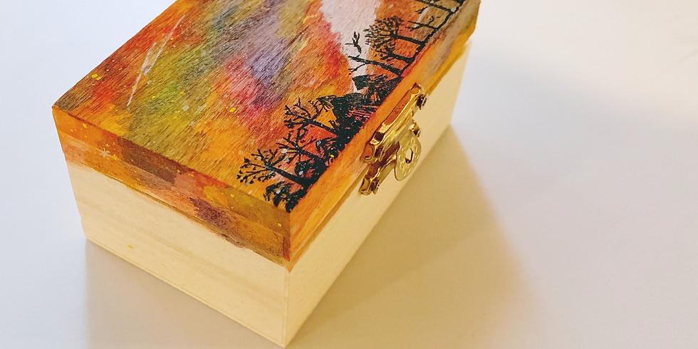 水彩星空木盒/小木鞋工作坊 Watercolor on Wood Workshop
