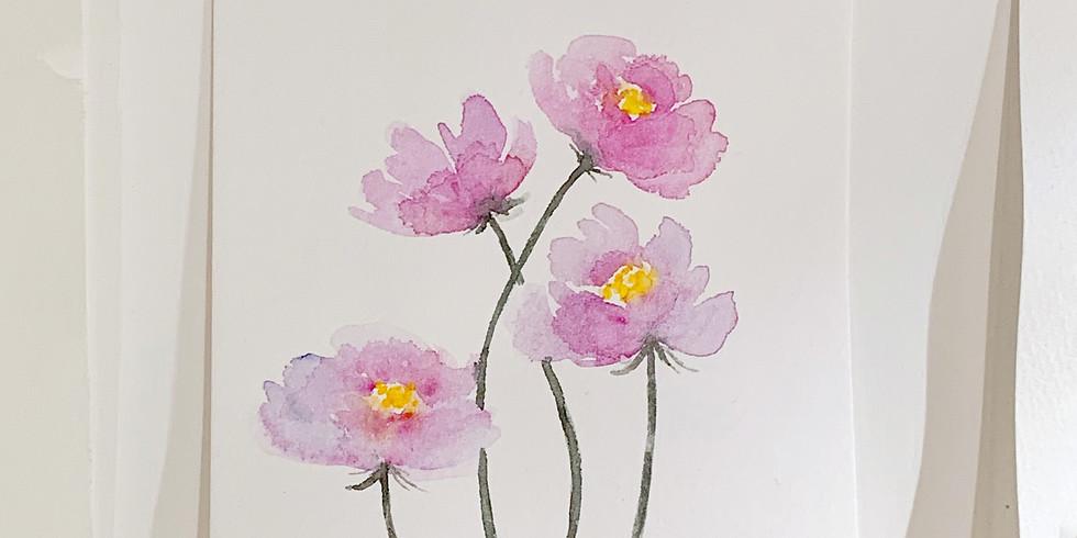 冬日花語・水彩花漾輕繪工作坊(罌粟花主題)Watercolor Loose Floral Workshop (Poppy)
