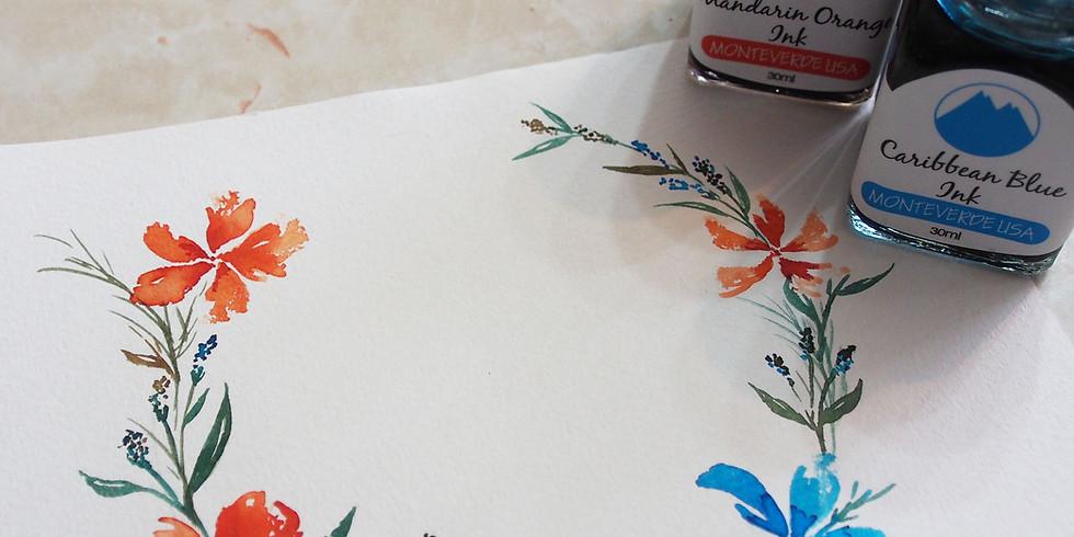 水彩花圈工作坊 Watercolor Wreath Workshop Part I