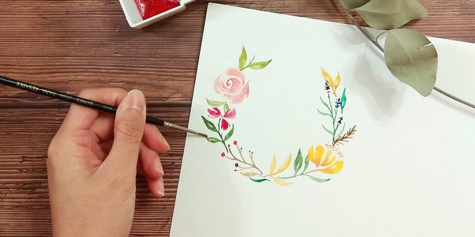 水彩花圈工作坊 Part II Watercolor Wreath Workshop