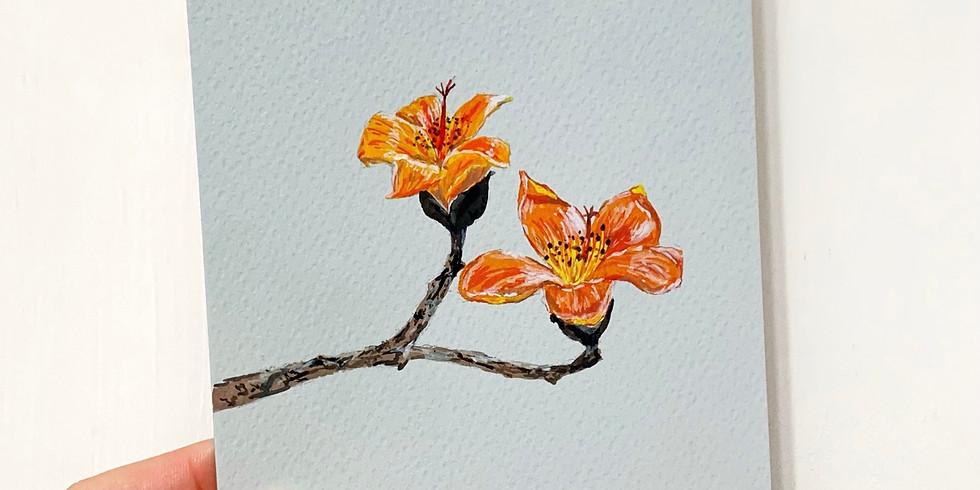 春日花語・木棉花不透明水彩花繪工作坊 Gouache Painting Workshop (Bombax ceiba)