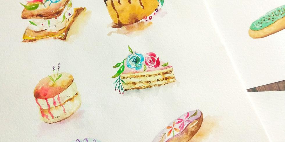 夏日時光・線上水彩甜點工作坊 Online Watercolor Desserts Workshop