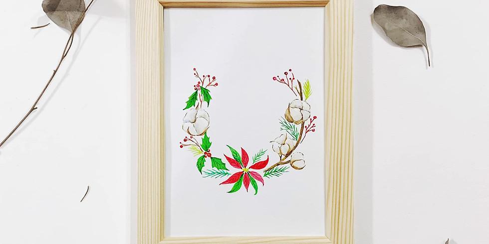 冬日花語・聖誕水彩花環工作坊(棉花及聖誕花主題)Watercolor Christmas Wreath Workshop