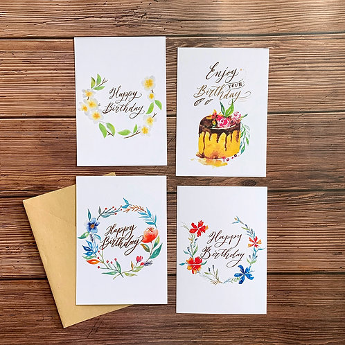 水彩插畫生日賀卡 附信封 Watercolor and Calligraphy Birthday Card