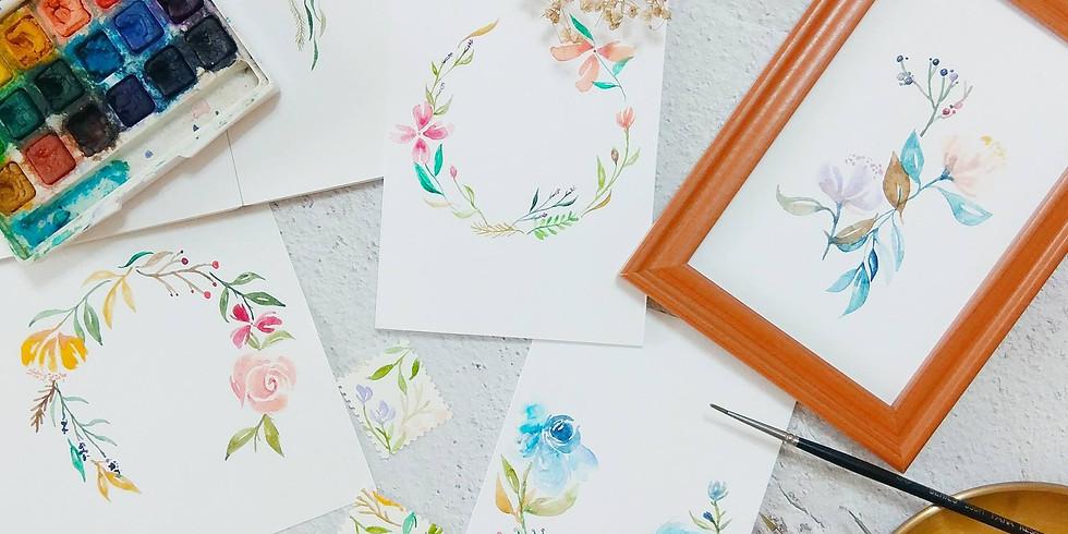 水彩花圈工作坊 Watercolor Wreath Workshop Part II (1)