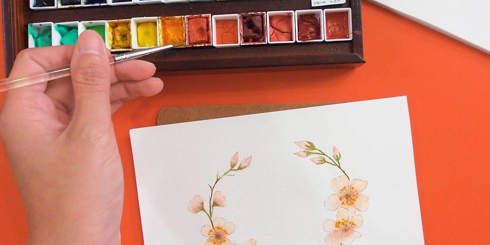 春日花語・水彩櫻花季花環工作坊 Watercolor Cherry Blossom Wreath Workshop