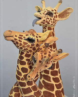 Sculpture girafe Photobomb