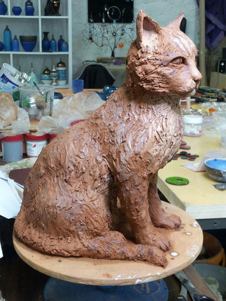 Longhaired cat sculpture