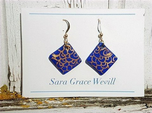blue glazed porcelain earrings