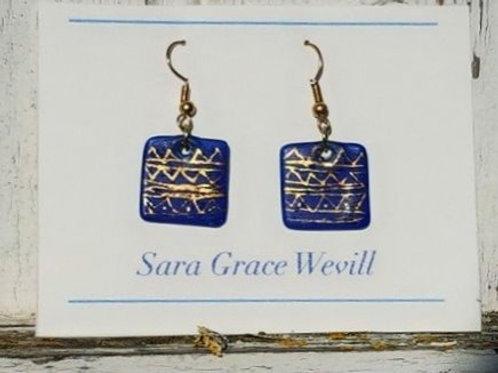 blue glazed porcelain earrings