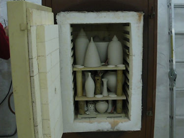 Front loader kiln packed and ready to fire