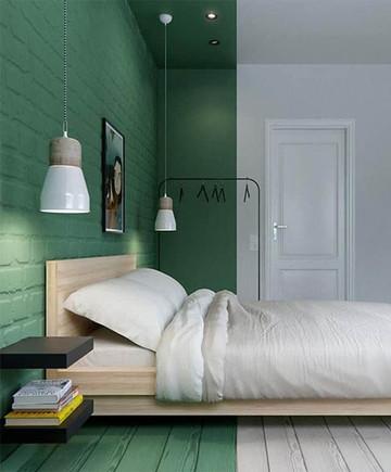 חדר שינה צבוע ירוק עם פרקט לבן.jpg
