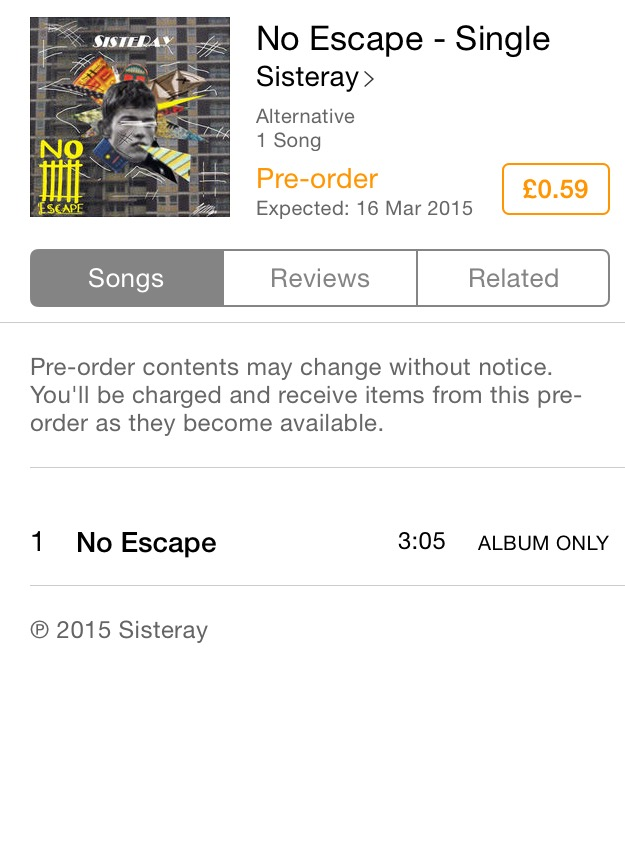 'No Escape' only 59p on iTunes