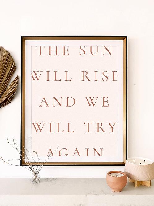 the sun will rise wall art