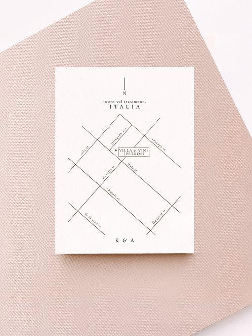 iris minimal map card
