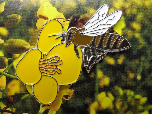 Honeybee on Oilseed Rape Enamel Pin Badge