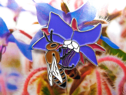Honeybee on Borage Enamel Pin Badge