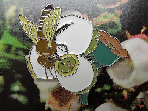 Honeybee on Blueberry Blossom Enamel Pin Badge