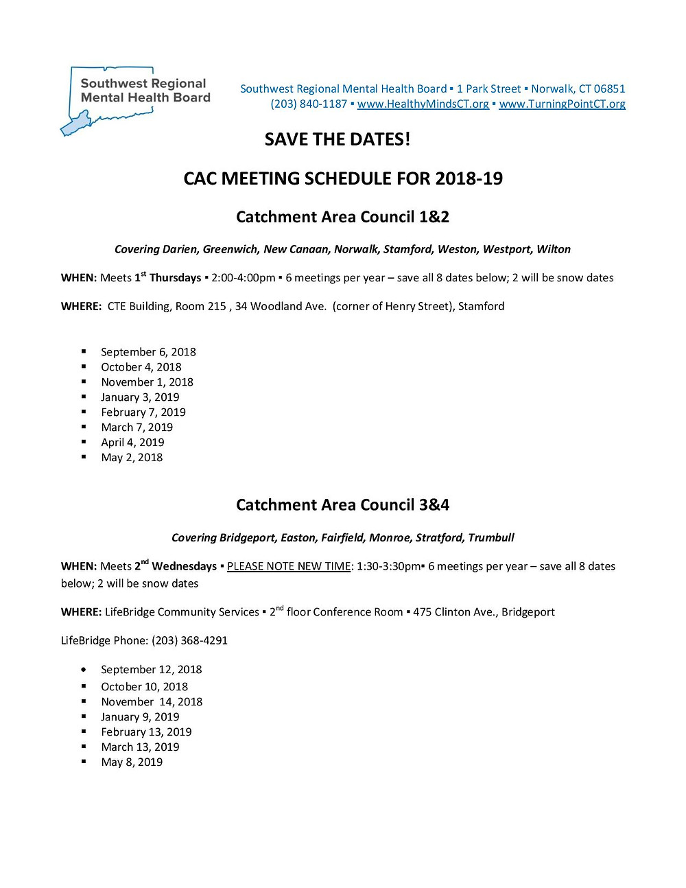 2018-2019 CAC Meeting Schedule