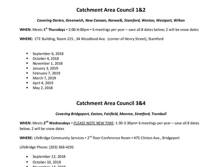 Catchment Area Council (CAC) 2018-19 Meeting Schedule