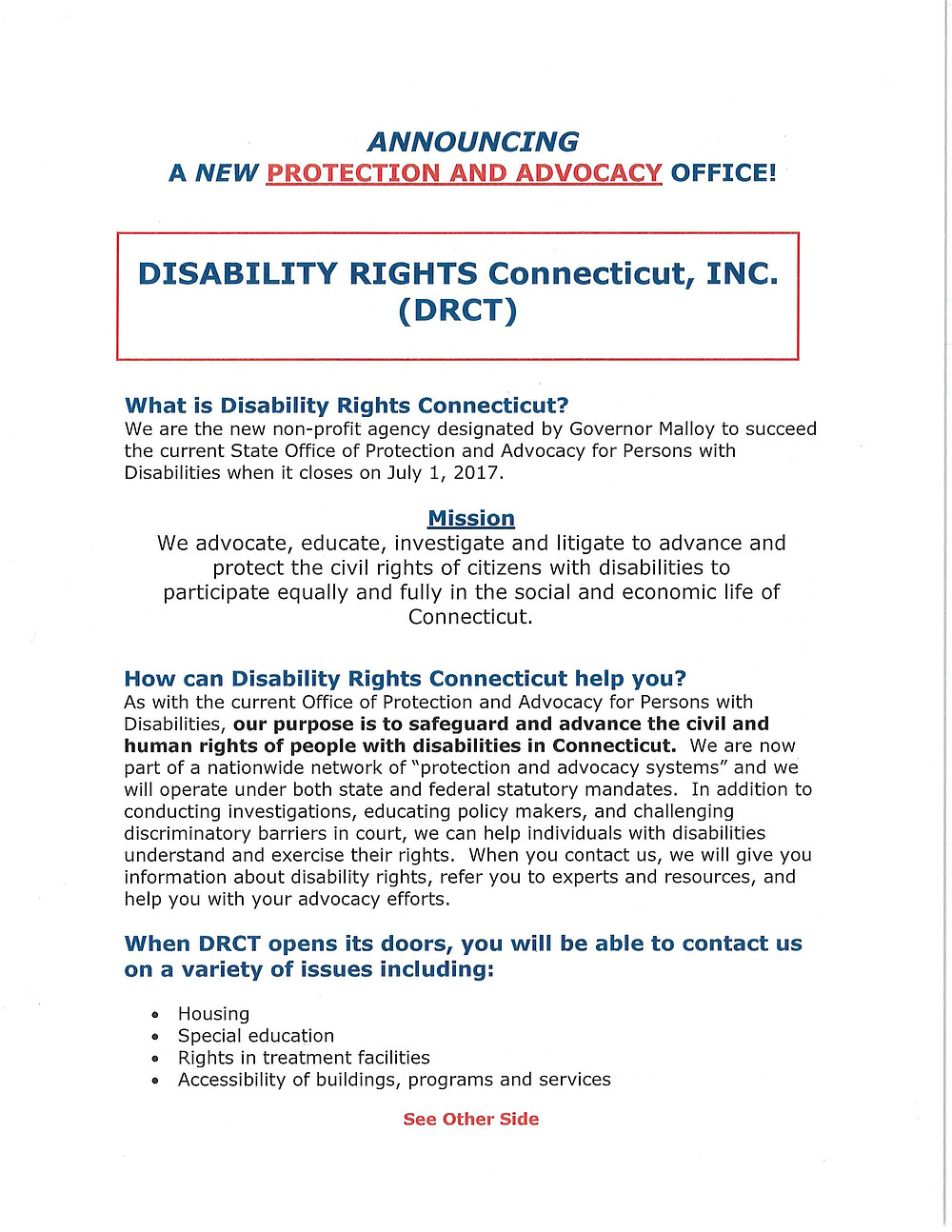 Disability Rights CT flyer