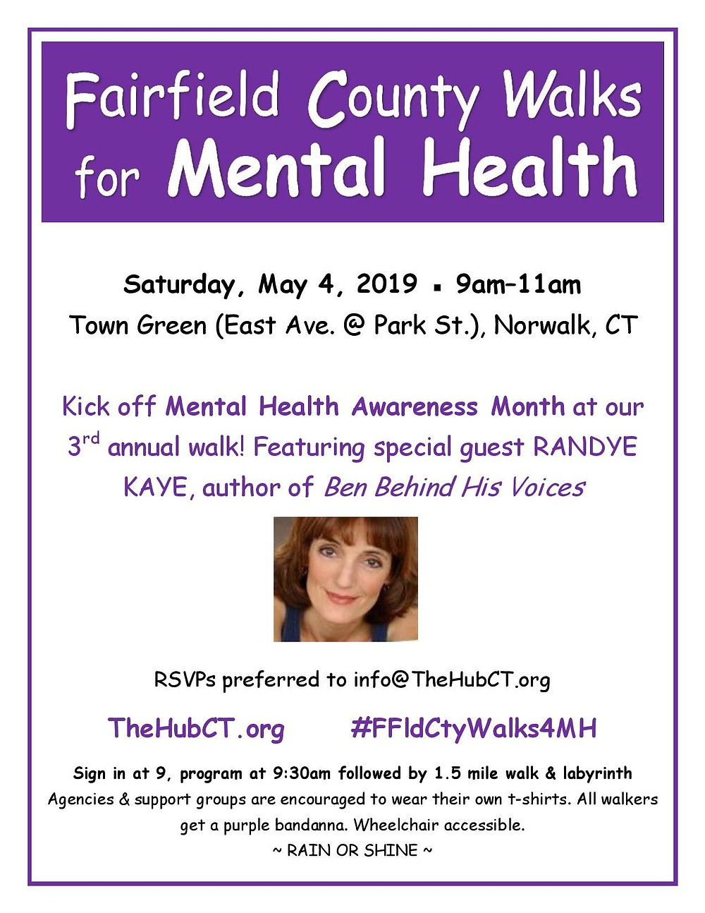 May 4, 9am-11am, flyer Fairfield County Walks for Mental Health