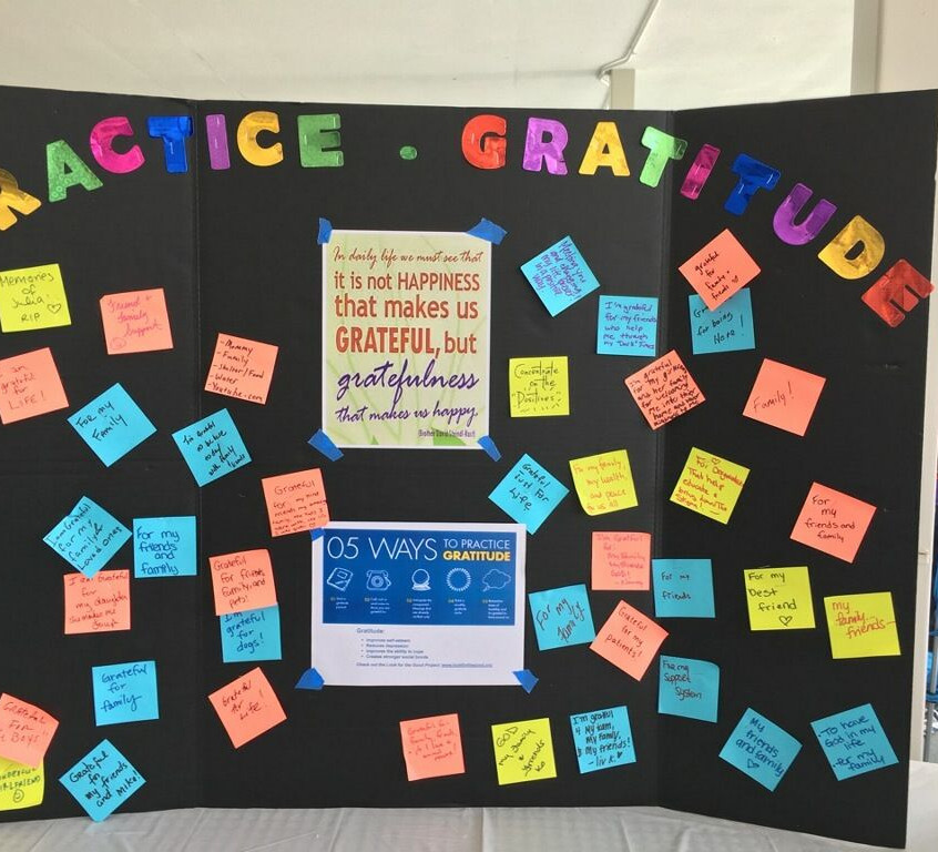gratitude board - out of darkness walk