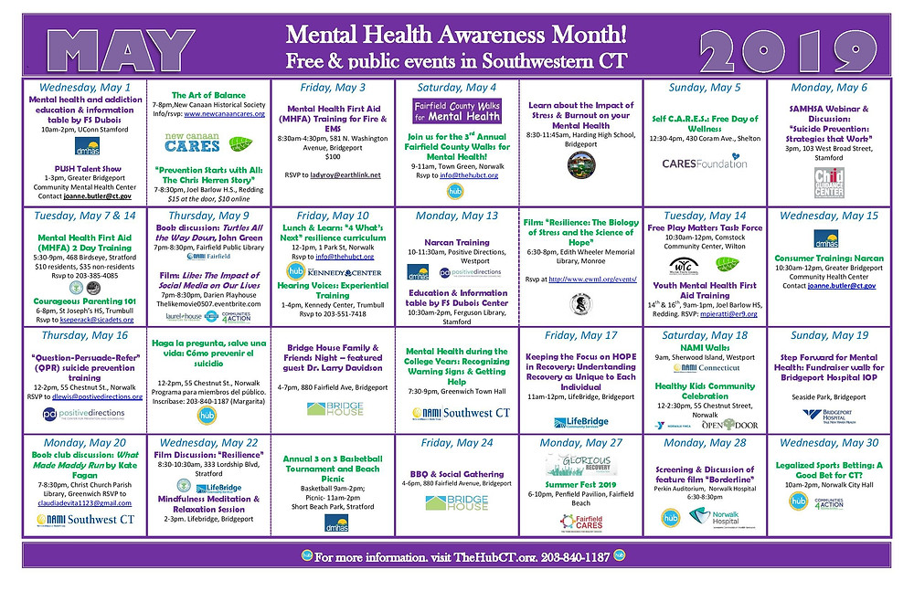 Mental Health month events calendar
