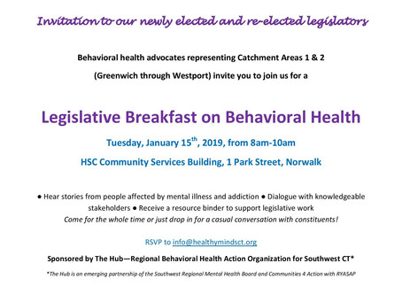 2 Regional Legislative Events around Behavioral Health in January