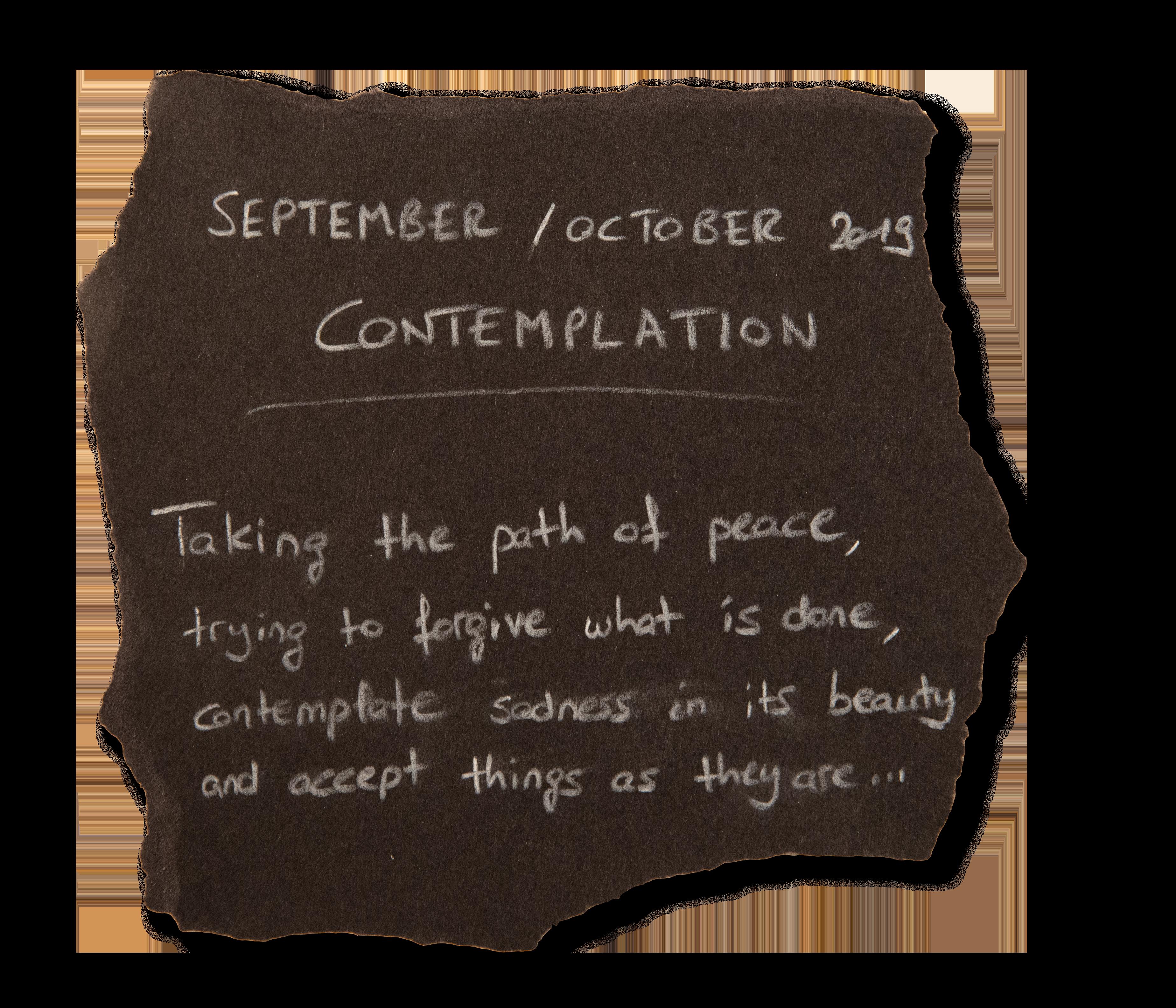 #6 - SEPTEMBER 2019 - CONTEMPLATION