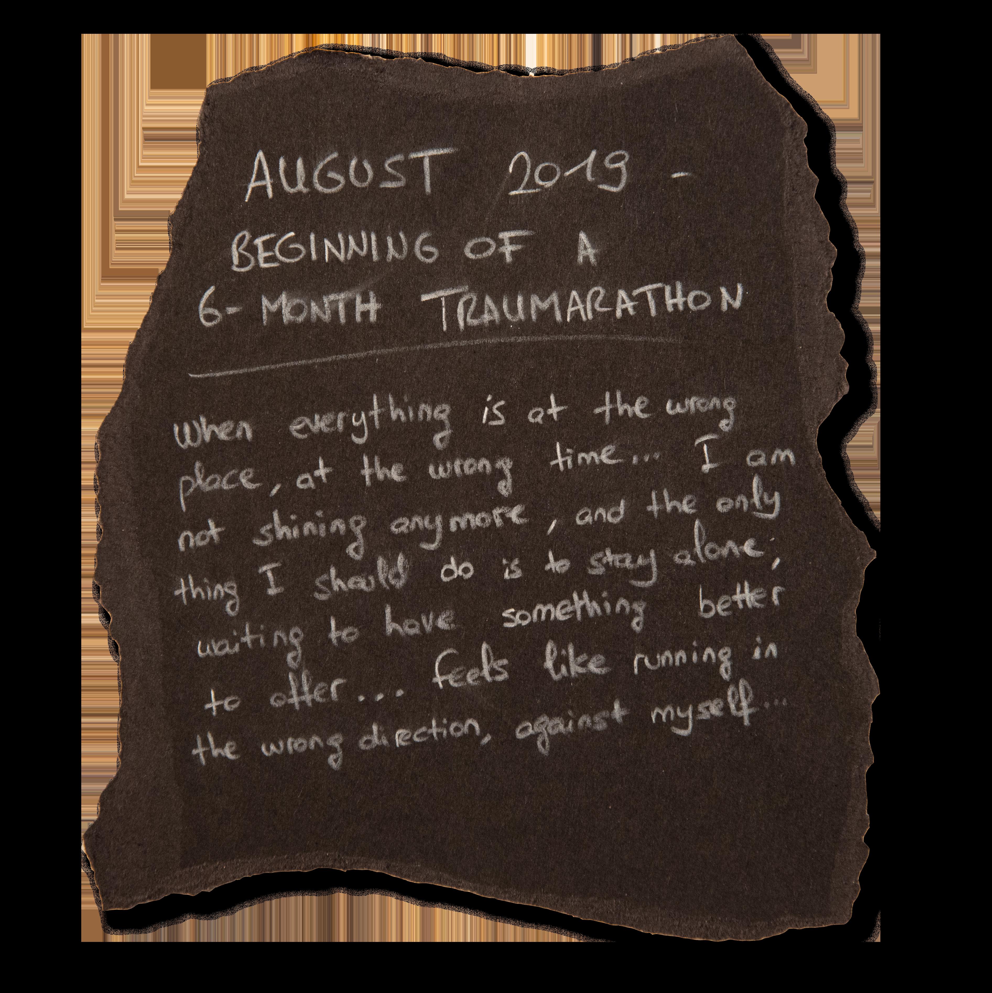 #2 - AUGUST 2019 - BEGINNING OF A 6-MONTH TRAUMARATHON