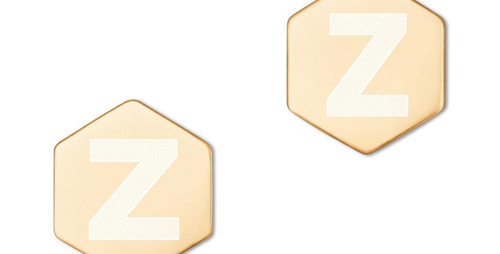 Z. Sterling Silver Hexagon Stud Earrings