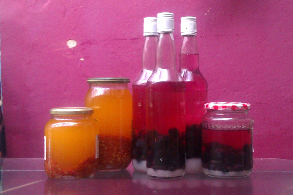 Rosehip Oil and Sloe Gin- here's some I made earlier