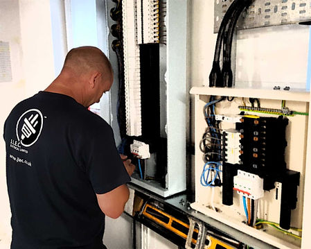 JLEC Electrician connecting up essential distribution board