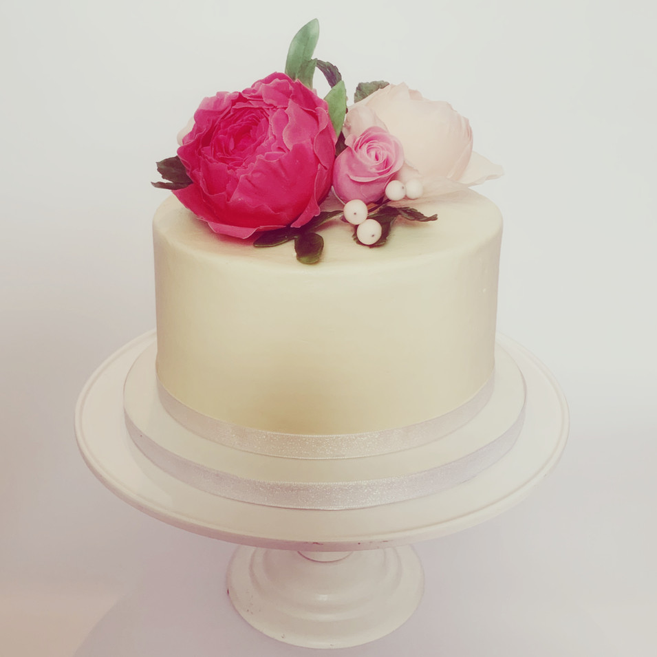 One tier floral wedding cake