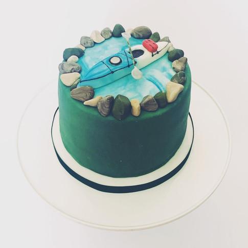 Kayak birthday cake