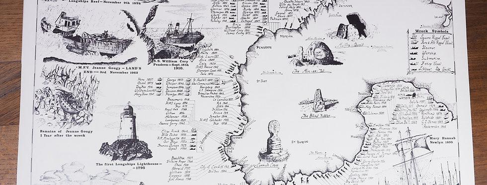 Land's End Shipwrecks Poster