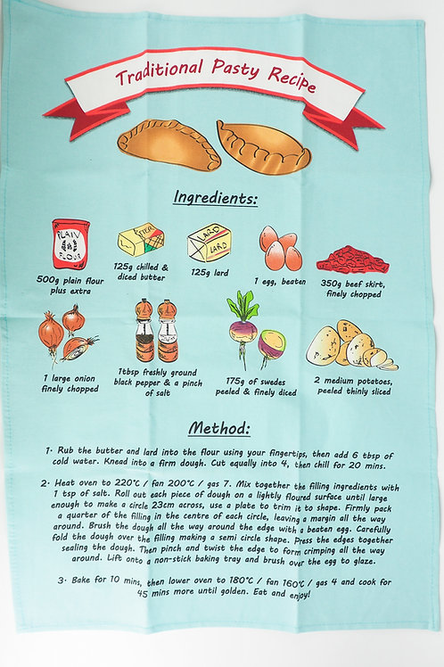 Traditional Pasty Recipe Tea Towel